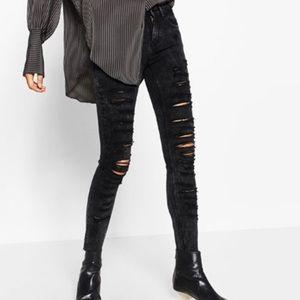 Zara Super Distressed Acid Wash Skinny Jeans 4 EUC